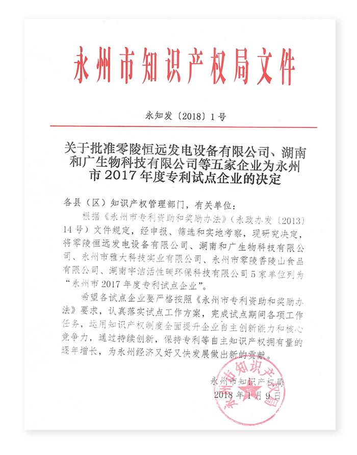 4.262017年雅大科技获批为永州市专利试点企业