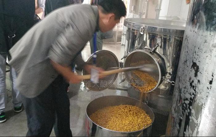 12.20将蒸好的玉米从雅大纯粮酿酒设备中铲出