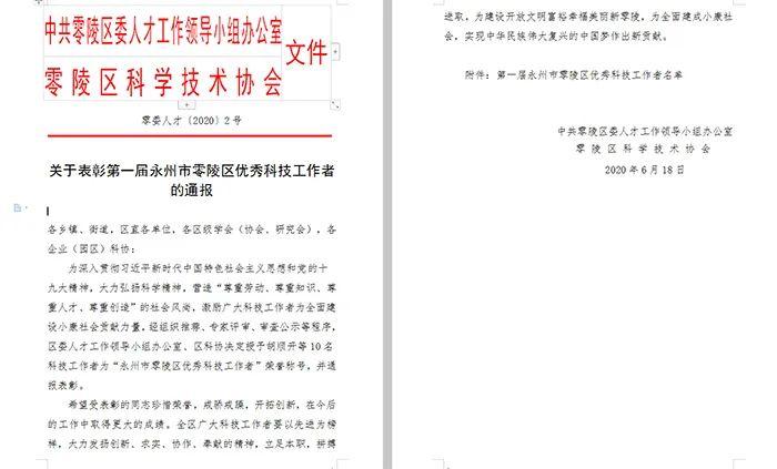 6.24永州市零陵区优秀科技工作者 通报文件