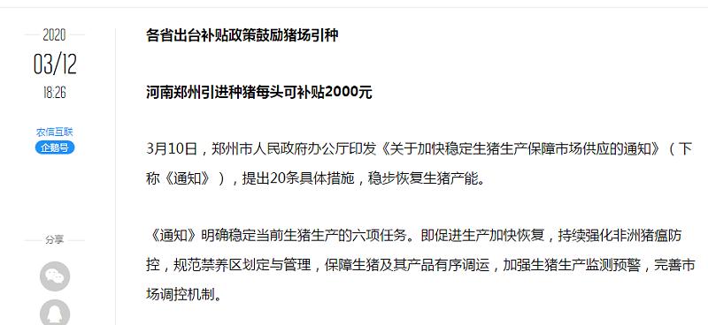 3.24河南郑州引起种猪每头可补贴2000元