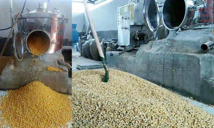 10.4 200斤侧开口酿酒设备玉米酿酒实操